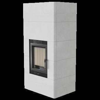 Kamin BLANKA effekt 8kW-  med HÖLJE av ACKUMULERANDE betongplattor_ externluft _REA