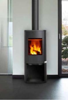 Braskamin CURVE 100S effekt 3-8kW med INTEGRERAD TILLUFTEN _ med välvd stållucka