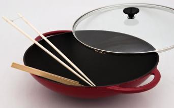 Chasseur gjutjärns wok med lock_ ø 37 cm _ RÖD