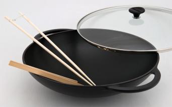 Chasseur gjutjärns wok med lock_ ø 37 cm _ SVART