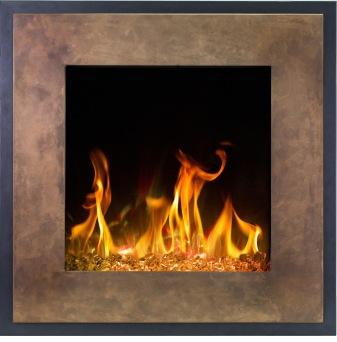 Elektrisk eldstad Fort Bronze med en realistisk eldeffekt + värmefunktion MED SIDOBELYSNING