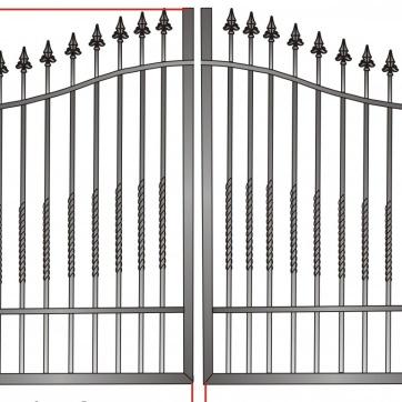 Exempel.grind_ lodräta stålstänger utan speciell dekoration