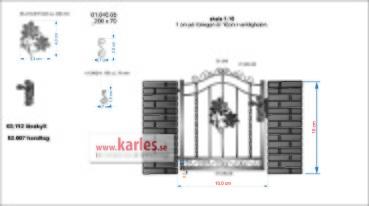 gångrind med kastanj 03.314 LÄTT vridna 2 stångar