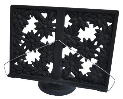 Gjutjärns bokställ BLOMMOR emaljerad svart -