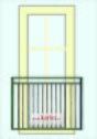 FRANSK BALKONG B15_ L.118cm_ svart_ med fäste