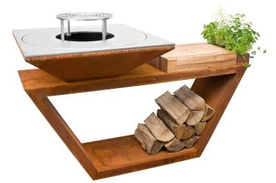 Trädgårdsspis & vedeldat grill Artiss G4 corten -