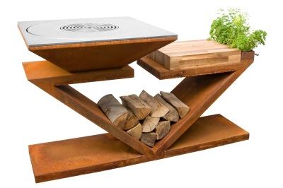 Trädgårdsspis & vedeldat grill Artiss G5 corten