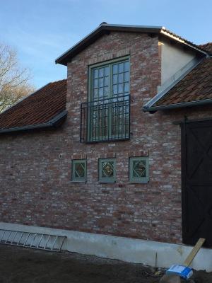 Fransk balkongräcke B6_  VARMFÖRZINKAD_ PULVERLACKAT _ L.130cm C/C _ svart -