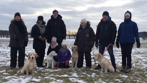 Valpträff med Stella och tre av valparna, Barkis, Naja, Stella och Milton med familjer