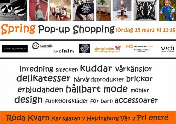 Pop-up Shopping lördag 15 mars kl 11-16 i Helsingborg