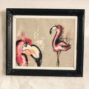 Chalkpainting Flamingos Original