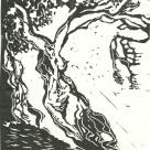 Karens måske vigtigste motiv på Kreta var oliventræer. Her er ét, der var både forside og februar-blad i hendes 1986-kalender. Linoleumstryk.