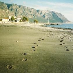 Stranden neden for Agia Roumeli - ikke så mange spor i sandet i november.