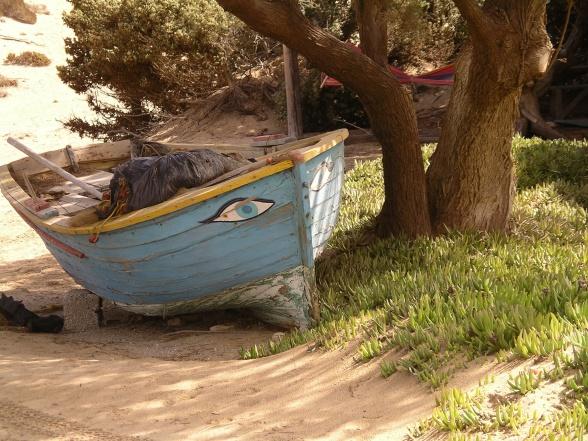 På køreturen rundt på øen kiggede vi bl.a. på de nordlige strande. Her var denne båd et fristende motiv.