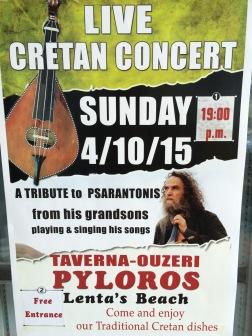 Plakaten, hvor navnet Psarantonis blev nævnt, og man kunne se hans billede. Men hvem der faktisk skulle spille, fremgik ikke.