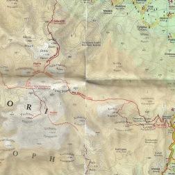 Udsnit af Harms Verlags Vestkreta-kort. Den røde linje fra vest mod øst svarer til min planlagte rute.