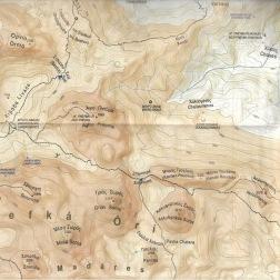 Udsnit af Anavasis noget mere detaljerede kort over Lefka Ori.