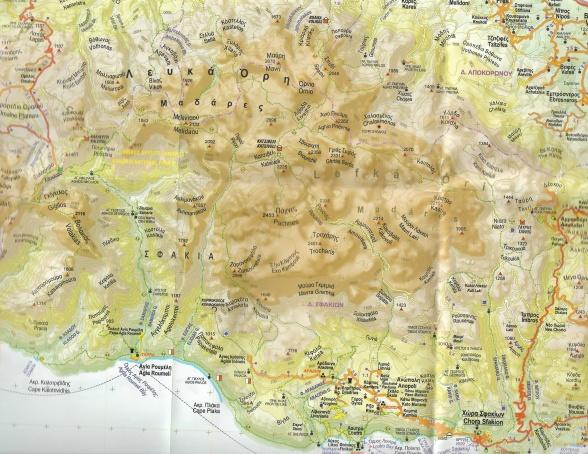 Redningstjenesten ledte blandt andet efter mig i nærheden af Agia Roumeli (i det sydvestlige hjørne af kortet). Jeg befandt mig et sted vest for Ebrosneros (det diametralt modsatte hjørne). Kortudsnittet svarer til 27 km i bredden, 21 km i højden. Den højeste tredje dimension, bjergtinden Pachnes, er 2.453 meter høj. Kort: Anavasi