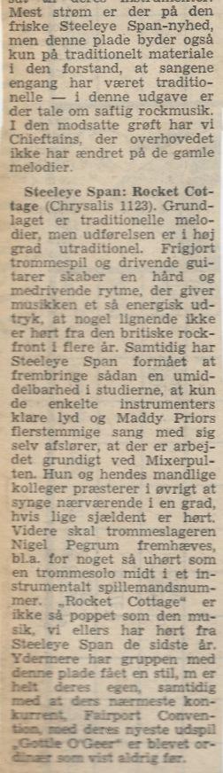 Uddrag af anmeldelse 8. oktober 1976 i det daværende dagblad Vestkysten, signeret 'jakob'. Resten af anmeldelsen handlede om to andre aktuelle plader, nemlig med Albion Country Band og The Chieftains.