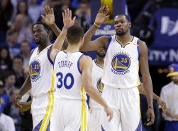 Golden State Warriors förra guldtrio - Draymond Green, Stephen Curry och Kevin Durant (numera i Brooklyn Jets)