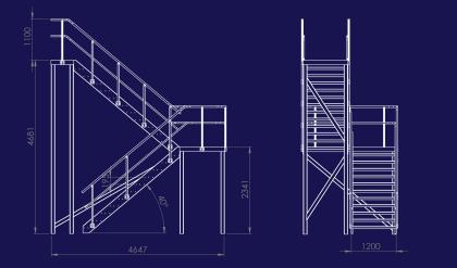 Aluminiumtrappa med dubbla löp och vändplan
