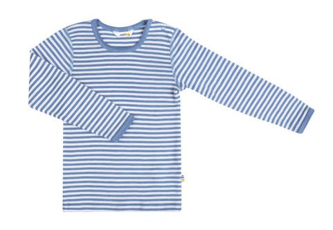 Busbyxans blåvit-randiga undertröja i ull/silke.