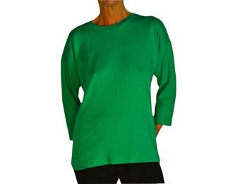 Tröja lång ärm smaragdgrön bomull rand