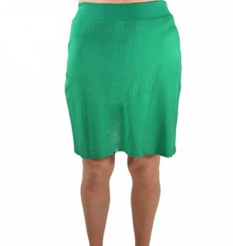 Kort kjol smaragdgrön bomull rand