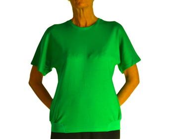 Tröja kort ärm smargdgrön rund halsmudd