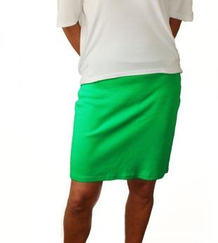 Kort kjol smaragdgrön bomull slät
