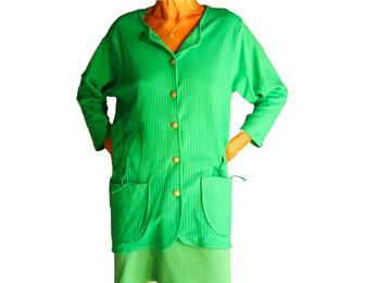 Jacka smaragdgrön bomull rand
