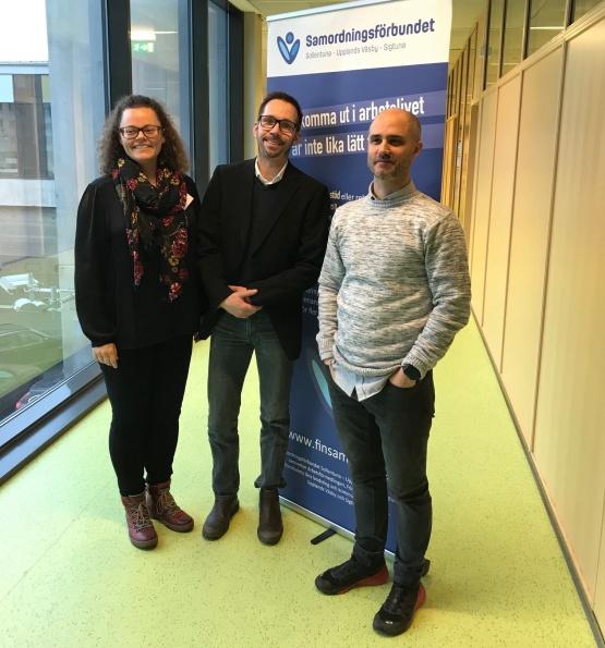 Tina Claesson, samordnare för den nya insatsen för unga, tillsammans med de två medverkanden Mathias Holmlund och Markus Blomqvist.