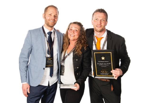 Andreas Pernhall, Inger Klangebo och Richard Mårtensson – ägare till det prisade företaget. Fotograf Patrik Eriksson/Dalarna Business
