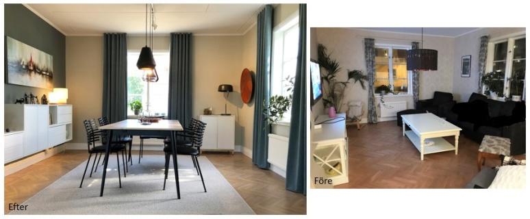 Före och efterbild. Matsal. Rowico och Ikea.