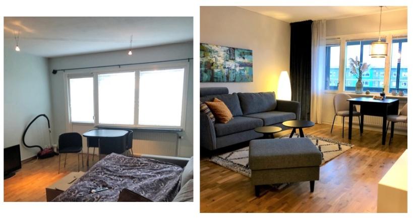 Före och efter: vardagsrumsdel med liten matplats fixades med vägghängd förvaring och möbler i rätt storlek