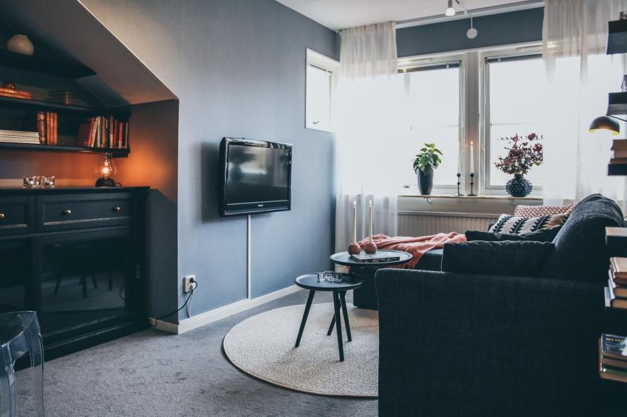 Kombinerat tv rum och gästrum med bäddsoffa, förvaring under snedtak