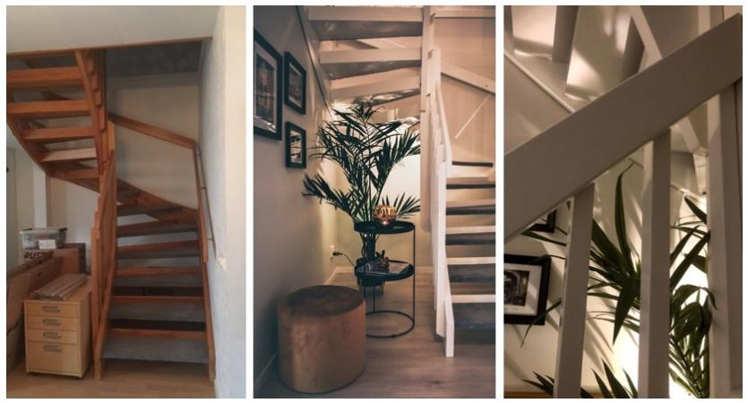 Här blev det ny planlösning, målning av trappan och ny inredning.