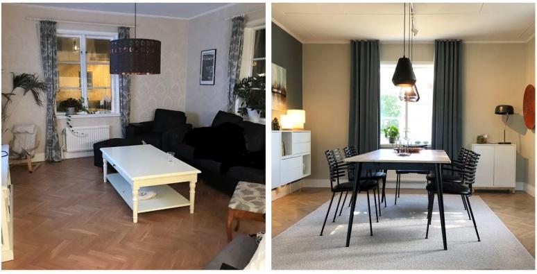 Före och efter TV rummet i villan i Falkenberg blev matrumsdel med läckert matbord och stolar, ny färgsättning, och mer förvaring