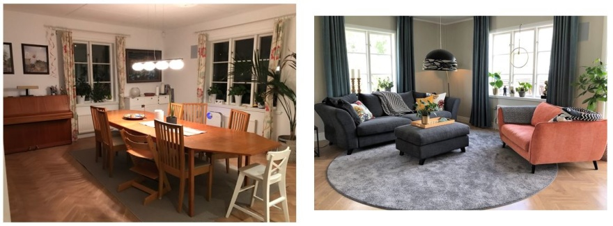 Före och efter Att inreda med stor skön soffa och fåtölj, rund matta, takhängda gardiner och snygg taklampa förvandlar matplatsen till mysig soffhörna