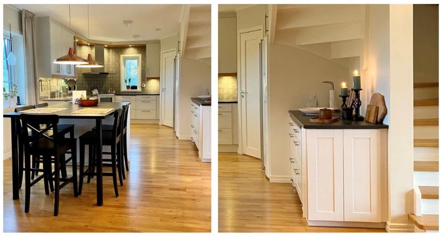 Med en köksö, stor nog för hela familjen och förvaring under trappan fick köket en uppdatering.