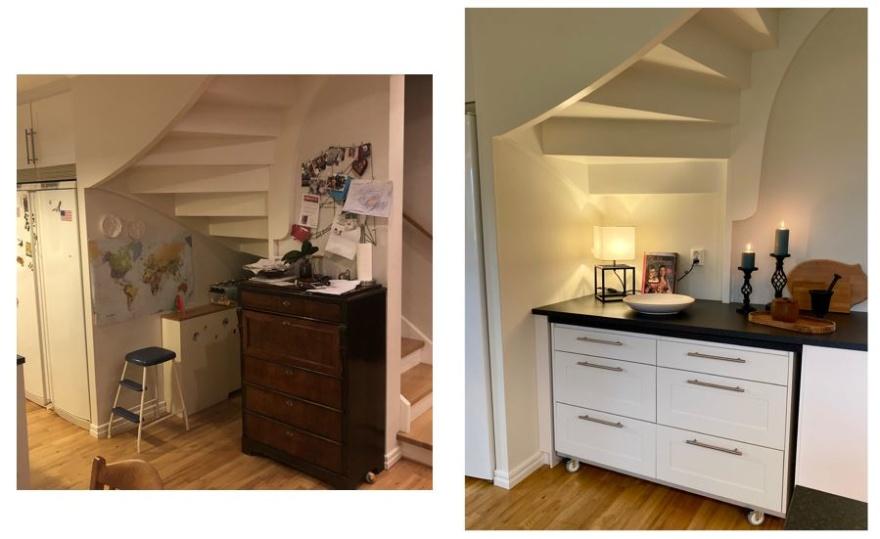 Platsbyggd lösning under trappan med återbruk av gamla köksön på hjul för enkel tillgång till utrymmet längst in.