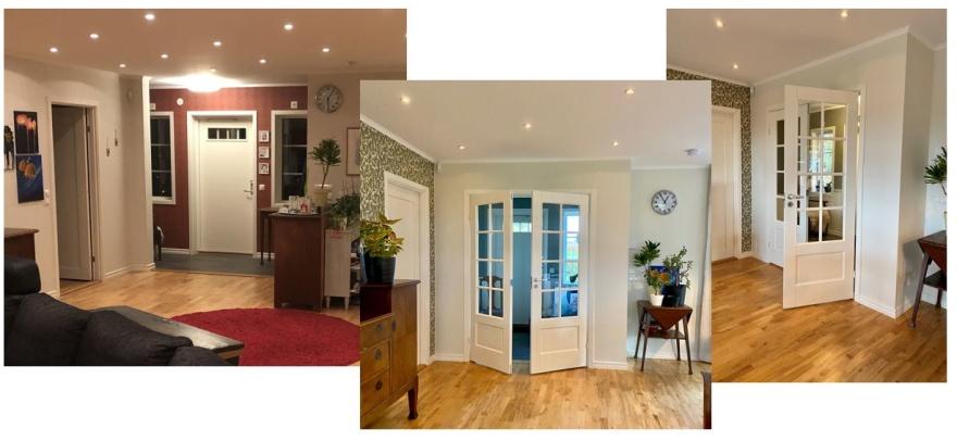 Ny vägg med dubbla glasdörrar för en bättre planlösning och en trevligare känsla både i hallen och i allrummet. Dessutom fick hallen ny tapet som fungerar med resten av huset.