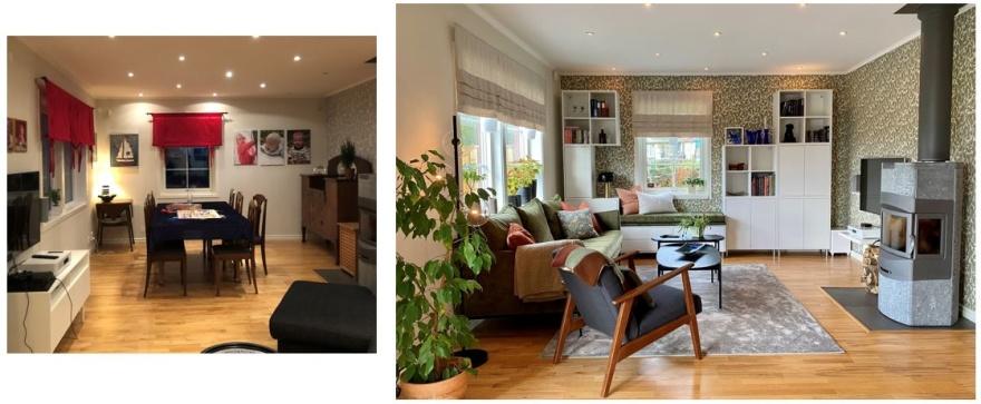 Definiera de olika zonerna i rummet med stora mattor är ett bra sätt att höja trivseln i en öppen planlösming.