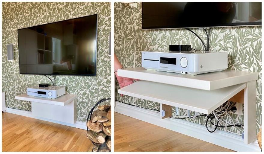 Smart DIY lösning av kund för tvn's alla kablar.
