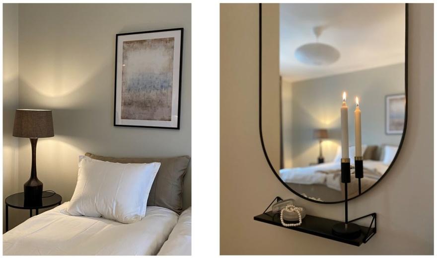 Detaljer från ett nyinred sovrum i Göteborg. Inredaren har gått efter en lugn plats med naturnära färger.