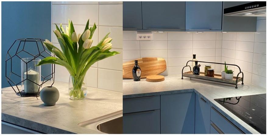 Inredaren från Myhres & Coey har stylad  inför kundens inflyttning i sin nyinredda lägenhet i Göteborg.