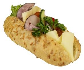 Baguette med ost & skinka