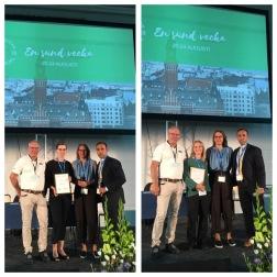 Rebecka Ahl (tv) och Maria Wikström (th) tillsammans med representant från Baxter samt SFAT:s ordförande och vetenskapliga sekreterare.