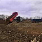 Fyllnadsarbete för planerad skolbyggnad
