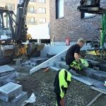 Byggnation av trappa med campusblock